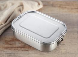 Almuerzo de acero inoxidable online-Gran tamaño 1400 ml Caja de almuerzo de Bento de acero inoxidable Contenedor de alimentos Contenedores de aperitivos de acero inoxidable Perfecto para niños y adultos