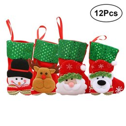 12pcs pack christmas tree hanging socks ornaments festival party decoration cute ornaments miniature christmas gift socks