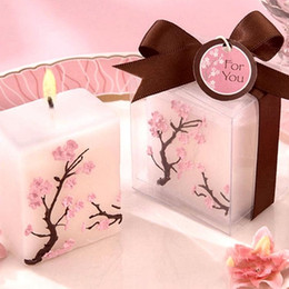 cherry blossom party decorations Coupons - 100pcs Wedding Candles Smoke-free Scented Wax Cherry Blossoms Candle Wedding Present Gifts Favors Party Decoration SN409
