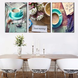 Wholesale Cup Coffee Pictures - 3 Panel Coffee Cups Still Life Modern Wall Pictures Kitchen Wall Art Canvas Painting Paint By Number Modular Painting
