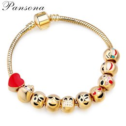 Wholesale Kc Gold Plating - Hot style alloy bead expression emoji KC Jin Dakong bead bracelet with smiling face expression Women act the role ofing is tasted