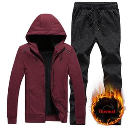 1d8cc3e4cf0 Wholesale-Warm Sportsuits Sets Men Hoodies Suits Color Cotton Fleece Fabric Man  Tracksuit 7XL 8XL Sportswear Running Sets Gym Sport Suit