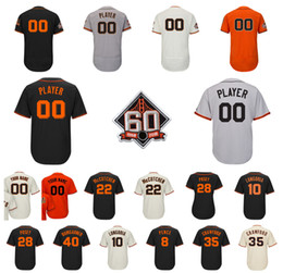 Wholesale white belted shorts - 60th Season Patch Giants 22 Andrew McCutchen Johnny Cueto 10 Longoria 28 Posey 40 Madison Bumgarner Belt 35 Brandon Crawford Baseball Jersey
