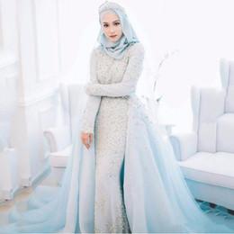 perline di ghiaccio blu Sconti 2019 nuovo lusso polvere blu musulmano abiti da sposa perline di cristallo perle romantico ice blue abiti da sposa formale abito da sposa musulmano vestidos