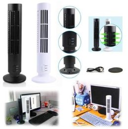 Wholesale Usb Desk Fans - 2 Colors Portable New USB Vertical Bladeless Fan Mini Air Conditioner Fan Desk Cooling Tower for Home Office 5V 2.5W CCA9386 24pcs