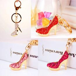 Wholesale Wholesale Womens Heels - New Fashion High Heels Shoes Keychain Womens Car Keyring Rhinestone Crystal Charm Pendant Key Bag Chain 4 Styles Free DHL G20Q