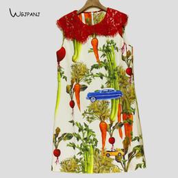 Abiti corti senza maniche estivi 2018 Peter Pan Collar Floral Vegetables Stampa Dolce Runway Design Women Dress cheap peter pan runway collars da collari di pista di peter pan fornitori