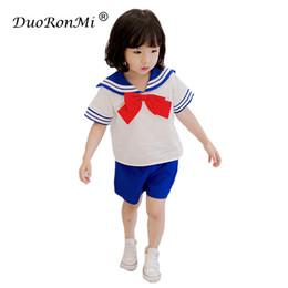 Wholesale Girls Sailor Skirt - Summer 2018 Baby Girls Boys Clothing Sets Children Short Sleeve Shirt + Skirts or Short 2pcs Sailor Set Kids School Uniform