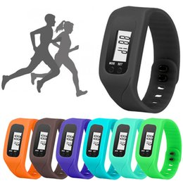 Wholesale Kids Electronic Digital Watch - Digital LED Pedometer Smart Multi Watch silicone Run Step Walking Distance Calorie Counter Watch Electronic Bracelet Colorful Pedometers