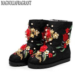 Wholesale custom wedges shoes - 2017 winter shoes Custom handmade pearl flowers really warm wool boots snow boots women boot z574