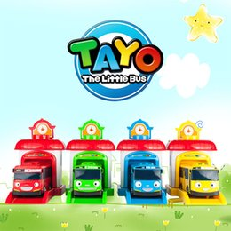 Wholesale Toy Buses For Kids - 4pcs set Korean Cute Cartoons garage tayo the little bus model mini tayo plastic kids baby car toys for children Christmas gift