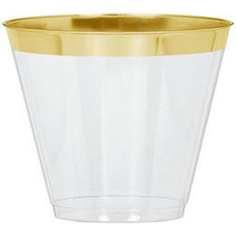 2019 copos prateados 20 pcs Amscan Prata Aparado 9 oz Tumblers De Plástico Fontes Do Partido Copo De Carimbo Quente PS Bolo Xícara De Uso Diário De Ouro copos prateados barato
