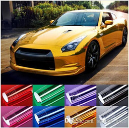Wholesale Car Wrap Style - 152cmX30cm Car Sticker Mirror Plating Chrome Electroplate Vinyl Car Wrap Foil Decal Film Waterproof Car-styling Decoration