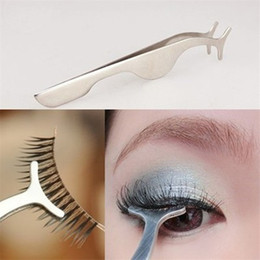 Falsche wimpern applikator-remover-pinzette clip online-False Eyelashes Curler Extension Lash Mascara Applicator Remover Steel Tweezers Clip Makeup Cosmetic Tool Eye Lash eyelash curler