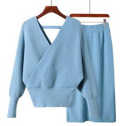 80c035cf72 GIGOGOU Two Pieces Suit Women Sweater Dress Set Fall Winter Open V Neck  Wrap Sweaters Knitted Dress Female Jumper Sweater. Supplier  clothwelldone
