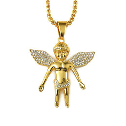 Wholesale Red Color Necklace - 2018 Men's Hiphop Jewelry Micro Angel Piece Necklace Charm Color Gold Chain Hip Hop Bling Jewelry Rappers Collier Female Gifts