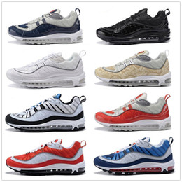 Wholesale Shoes Luminous - Hot 2018 98 OG Gundam Red Blue Silver Bullet Men Sneakers 20th anniversary 98 OG luminous 98s Authentic Cheap Shoes 40-46