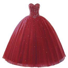 2019 De Lujo De Alta Calidad Vino Rojo Vestido De Bola Vestidos De Quinceañera Con Cuentas De Cristal Vestido Formal Del Partido Vestidos De 15 Anos