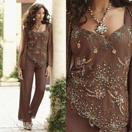 Wholesale Classy Yellow Dresses - Classy Beaded Mother Of The Bride Pant Suits With Jackets V Neck Wedding Guest Dress Sequined Plus Size Chiffon Mothers Groom Dresses
