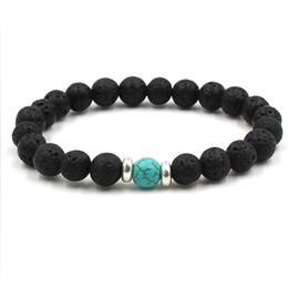 Lavastein Perlen Armbänder Natürliche Schwarz Ätherisches Öl Diffusor Elastisches Armband Vulkangestein Perlen Hand Saiten Yoga Chakra männer Armband von Fabrikanten