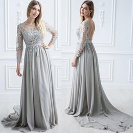 dce36ced7c Long Sleeve Backless Silver Mother of the Bride Dress Beaded Lace Chiffon  Transparent Neck Wedding Guest Dress Special Occasion