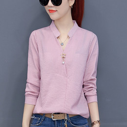 4bea2e25a11a 2018 Women Chiffon Blouse Autumn Ladies Work Wear Office Shirts V-neck Long  Sleeve Ladies Tops Striped Blusa For Mujer Tops D18103004