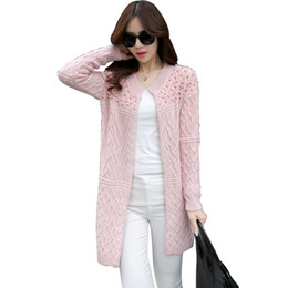 b7e59cf51a Vintage Thick Knitting Beading Cardigan Sweater O-neck Argyle Sweater  Winter Long Sleeve Loose Cable Knit Coat Female