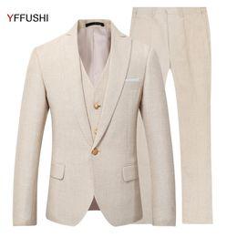 Wholesale Linen Dress Suit - Wholesale-YFFUSHI 2017 New Men Suit 3 Pieces Party Dress Yellow Linen Suits Tuxedo Latest Coat Pant Designs Slim Fit Casual Fashion Style