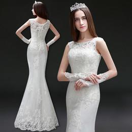 robe de mariée en dentelle à col haut Promotion Encolure dégagée Dentelle Tulle Robes de mariée sirène
