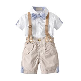 Wholesale Toddler Striped Shirt - 2018 Summer Baby Boy clothes Outfit Gentle Bow shirt + Overall shorts England style 100% Cotton Toddler Wedding Party clothes Wholesale 1-4T