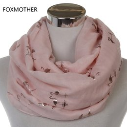 Wholesale Grey Foil - Free Shipping 2017 New Fashion Women Shiny Pink Beige Grey Bronzing Foil Gold Flamingo Swan Infinity Scarf Snood For Womens