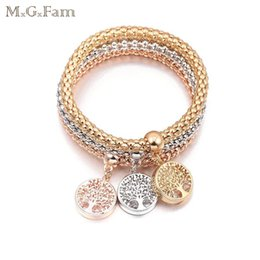 Wholesale life rings - MGFam (280B) (3pcs lot) Tree of Life Charms Popcorn Bracelet For Fashion Women Crystal Jewelry 3 Gold Color Choice Allergy Free