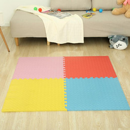 Wholesale Play Squares - Children Crawling Mat Solid Leaf Shape Play Puzzle Mat Foam Playmat Kids Safety Baby Room Floor Soft mat FFA184 9COLORS 50PCS