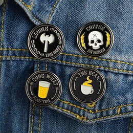 Wholesale bohemian style clothing for women - Miss Zoe Punk Style Drink Coffee Ax Skeleton Brooches Gift for Men Creativity Icons Pin Badge Button Lapel Women Girl Clothing