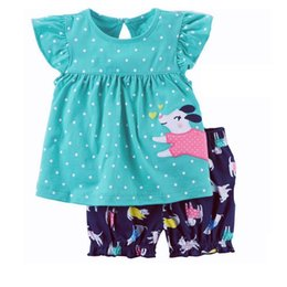 Wholesale Dog Girls Pants - Polka Dot Baby Girls Clothes Set Dog Print Summer Outfits Children Tee Shirts Pant 2-Pieces Girl's Suit Blouse Outfits Tops 0-2Y