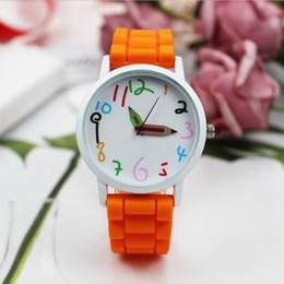 Bleistift uhren online-Mode Sport Uhren Silikonband Quarzuhr Cute Creative Pencil Zeiger Frauen Herren Uhr Geschenk Uhr