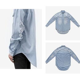 57508262c97 New Arrival Fashion denim shirt men hip hop long sleeve Shirts streetwear  oversized casual shirts Hole design men women shirt