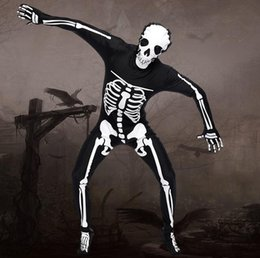 mulheres vestido colonial Desconto 2018 Novos Homens Halloween Demônio Cosplay Sexy Skeleton Bodysuit Osso Exótico Completo Trecho Fullbody Zentai Catsuit