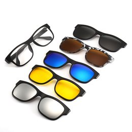 4f3146031da4d 6 Pieces Magnetic Clip On Sunglasses Polarized Magnetic Glasses Spectacle  Women Male Myopia Optical 5 in 1 Sunglasses men