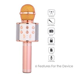 Argentina wlngwear WS858 micrófono Bluetooth karaoke micrófono inalámbrico Condensador Magic KTV cantante reproductor de altavoces Mic cheap wireless magic sing karaoke Suministro