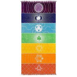 2019 tapices de calidad Toalla de playa Rainbow 100% algodón Tapiz de Yoga de alta calidad Patrón de colores Venta al por mayor 75 * 150 cm rebajas tapices de calidad