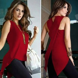 Wholesale Women T Shirt Large - Large Size S-3XL Fashion Woman Summer Irregular Sleeveless Tank Top Vest T Shirt