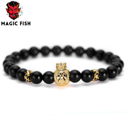 fishing bracelets for men Promo Codes - Magic Fish Black beads bracelet 2018 natural stone stainless steel lion crafting bead Chain bracelet for men women llaveros lol