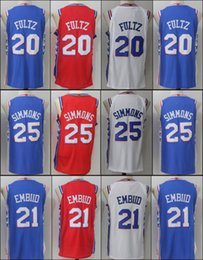 Wholesale Men S White Windbreaker - 2017-2018 New Brand Player Style 20 Markelle Fultz 21 Joel Embiid 25 Ben Simmons 76ers white blue red Stitched jersey