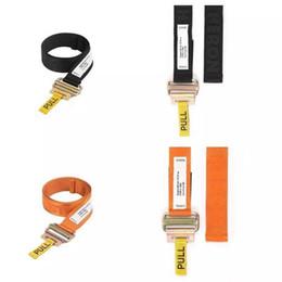 Wholesale Iron Letters Black - FW Heron Preston Belt Metal Head Woven PULL Belt Orange Black Fashion Men Women Highstreet Embroidery