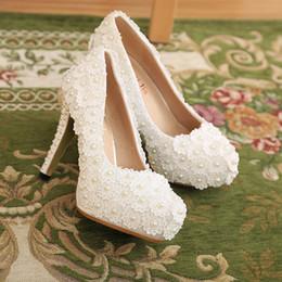Wholesale Dress Shoes Wedding Vintage Women - Newest Fashion Women Handmade Lace Wedding Shoes White Pearls Bridal Bridesmaid Shoes Vintage High Heels Banquet Dress Shoes