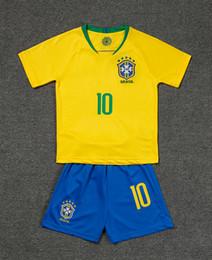 2019 criança do copo do mundo 2018 New Arrival World Cup Crianças Kit Camisa de Futebol Camisa Amarela Nacional Equipe Nacional 10 Footballe 11 Coutinho Crianças Uniformes de Futebol criança do copo do mundo barato
