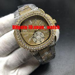 Approvisionnement d'usine 5719 / 10G 7021 / 1G Montre deux tons bracelet sangle bicolore Full Diamond lunette complet montre hommes fond transparent ? partir de fabricateur