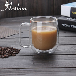 Wholesale Double Resistance - Arshen Big Promotion !300ml Handmade Heat Resistance Double Wall Clear Glass Cups Coffee Milk Tea Beer Mug Transparent Drinkware