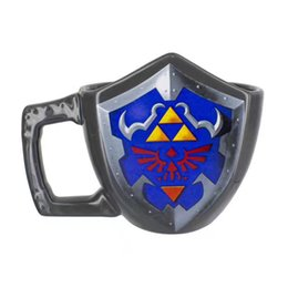 Wholesale Wholesale Legends - Gift Box Novelty Legend of Zelda Shield Ceramic Coffee Mug Game Boy Handgrip Porcelain Drinking Mug Game of Thrones